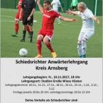 Anwärterlehrgang für Fußballschiedsrichterinnen/Fußballschiedsrichter beginnt am Freitag, 10.11.2017 um 18.00 Uhr